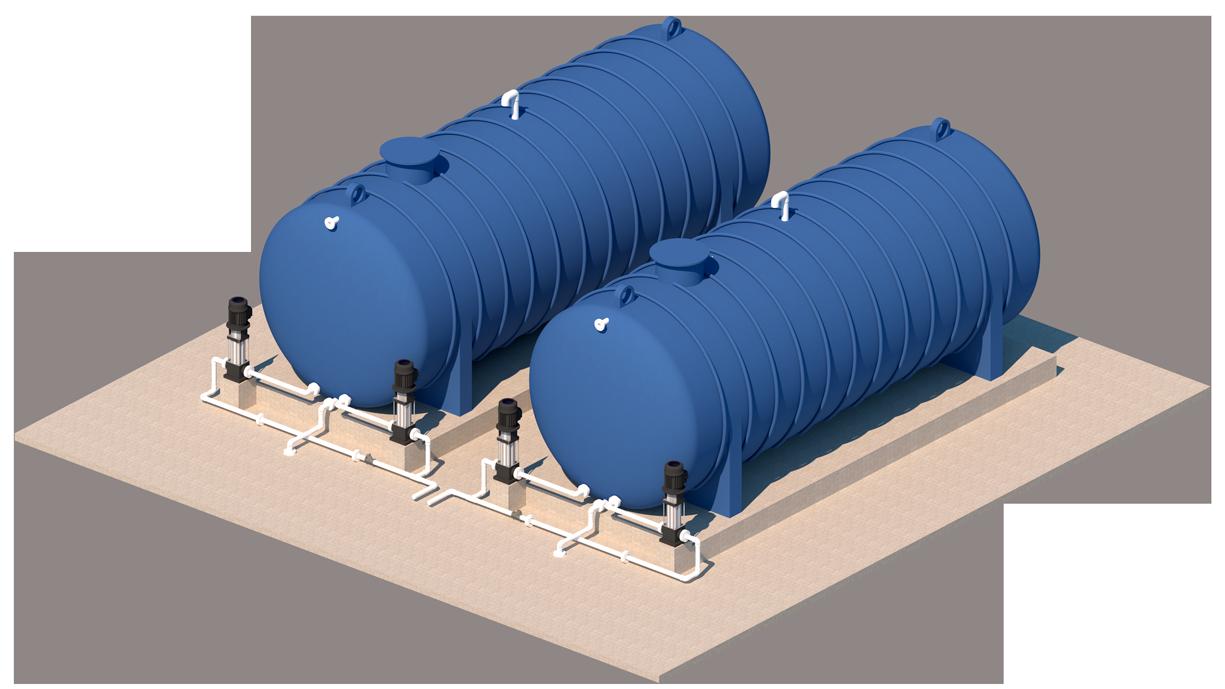 Tanques de almacenamiento horizontales para agua