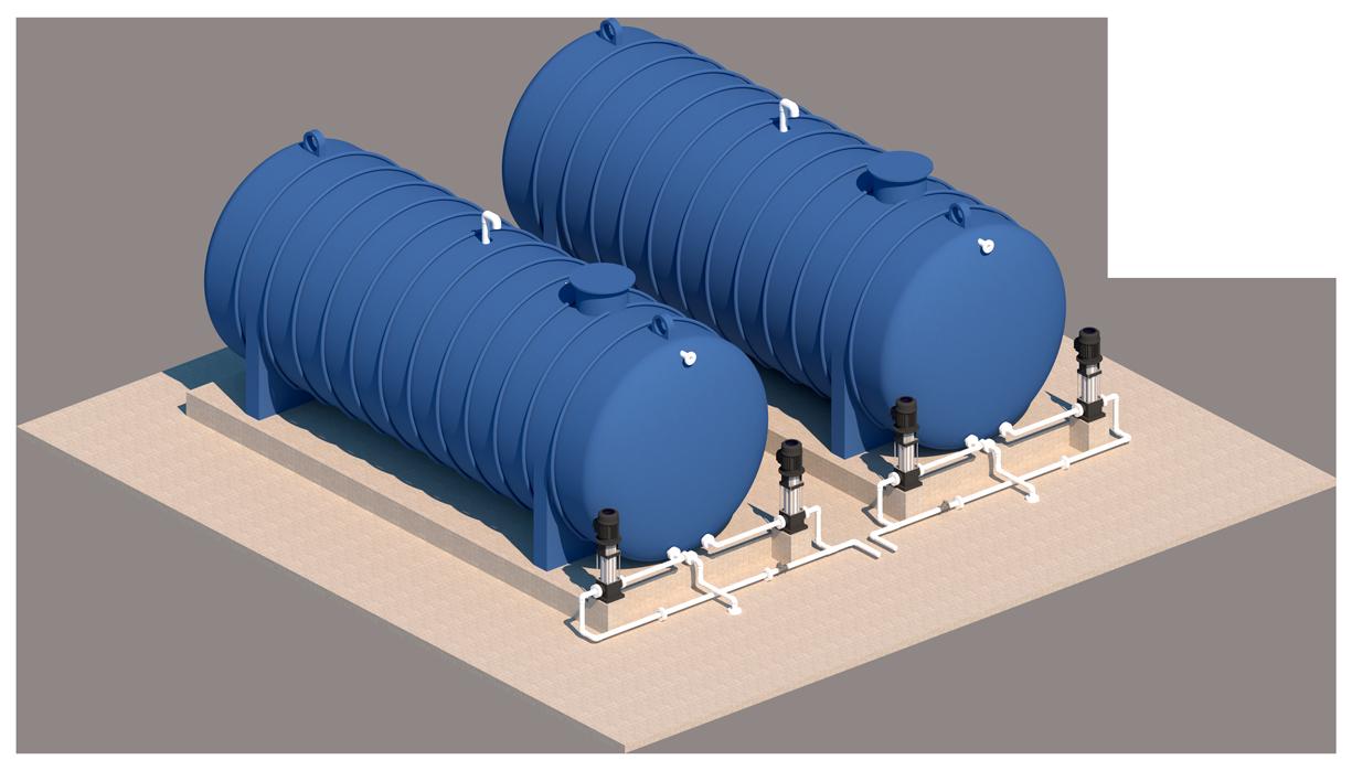 Tanque horizontal para quimicos industriales